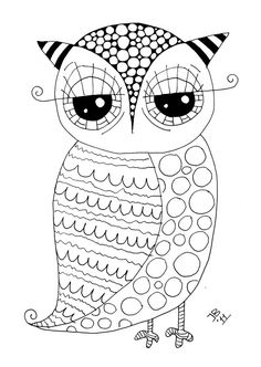 Use as basic outline then tangle (like my ZIA hummingbird) Free owl! Her website is awesome! You may need to translate, though. Check out her home decor -- It's owl-a-licious! Doodle Coloring, Free Coloring, Coloring Pages For Kids, Coloring Book Pages, Printable Coloring Pages, Coloring Sheets, Zentangle, Owl Art, Digi Stamps
