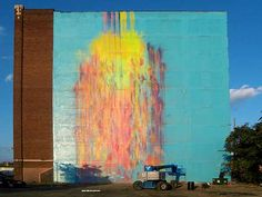 """""""The Illuminated Mural"""" by Katie Craig & Brandon Daugerty. Mural, 100ftX125ft. Northend E. Grand Blvd., Detroit. Installed 2009."""