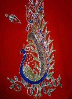 beautiful embroidered peacock motif