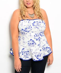Shop the Trends White & Royal Blue Floral Strapless Peplum Top - Plus by Shop the Trends #zulily #zulilyfinds