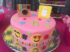Social Media Theme Cake for a 13th Birthday Party  #snapchat #instagram #cake…