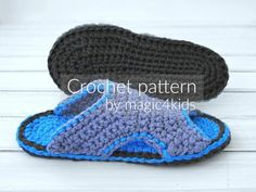 CROCHET PATTERN  men basic slippersall