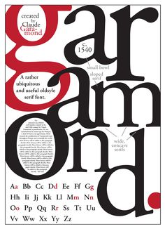 Garamond type poster by Scott Trobaugh; This poster looks like a book/magazine c Font Anatomy, Anatomy Of Typography, Type Anatomy, Typo Poster, Poster Fonts, Typographic Poster, Graphic Design Posters, Graphic Design Typography, Graphic Design Illustration