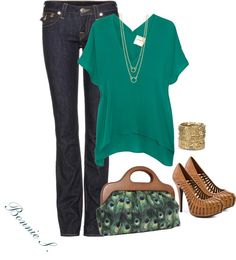"""teal & tan"" by bonnaroosky on Polyvore"