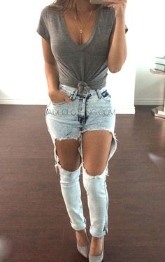 Spring Outfit - Ripped jeans with grey tee & heels