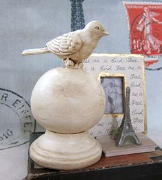 Shabby Chic Cottage Home Decor Bird Decorative Finial . . . have the bird . . .have the finial . . .just need to paint and put together! :)