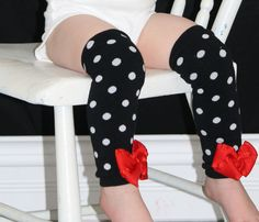 fancy Red black and White polkadot bow baby leg by KateGraceRose, $16.00