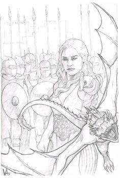 Daenerys Targaryen by on - Tattoo Art Game Of Thrones Drawings, Game Of Thrones Artwork, Adult Coloring Book Pages, Colouring Pages, Coloring Books, Art Drawings Sketches, Cool Drawings, Daenerys Targaryen Art, Khaleesi