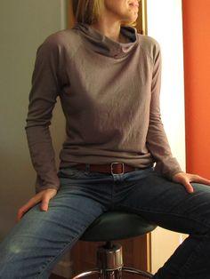 Organic Merino Wool Jersey Hoodie Shirt in kalamata and twilight. Hand Dyed. by mercymedesigns