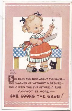 Mabel Lucie Attwell card - little housewife
