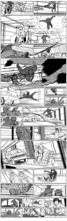 film storyboards Tony Liberatore drew some stunning frames for the Marvel film . Storyboard Film, Storyboard Examples, Storyboard Drawing, Animation Storyboard, Storyboard Artist, Animation Reference, Pose Reference, Comic Book Layout, Comic Books Art