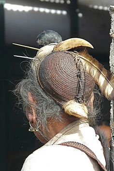 Details from the traditional woven rattan hats worn by the Nishi tribe men, often adorned with hornbill feathers and beak. | Image credit Rita Willaert, photo taken in Ziro/Hapoli, Arunachal Pradesh Tezpur, Assam, India.