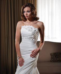 US $299.99 | 2015 Taffeta Strapless Neckline Ruched Bodice Wedding Dress