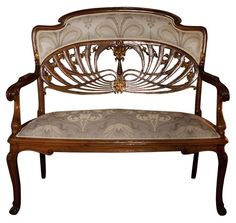 Furniture: Art Nouveau furniture seems fairytale-ish, and is very unique. The the circular design on the backrest of the bench flows gracefully with the rest of the ornate design. Móveis Art Nouveau, Interior Art Nouveau, Art Nouveau Furniture, Art Nouveau Design, Furniture Styles, Unique Furniture, Vintage Furniture, Furniture Design, Wooden Furniture