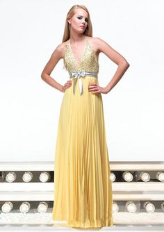 Chiffon Halter Beads Working Deep V-Neck Band Bowknot Backless Ruffle Floor Length Evening Dress