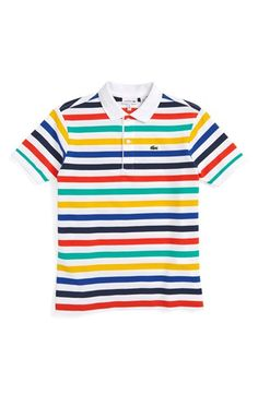 Lacoste Stripe Pique Polo (Big Boys)