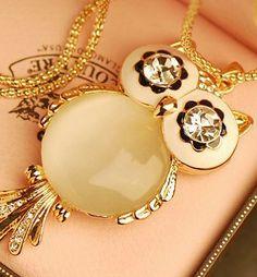 Wholesale Fashionable & Pretty Owl Diamond Alloy Necklace top dresses
