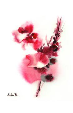 Wunsch und Treue Original Aquarell rosa Blumen Wand von CanotStop