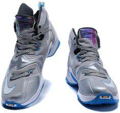 premium selection 1f3f4 b5723 Lebron 13 Shoes Grey Black Blue White1 White Nikes, Nike Lebron, Air Force 1