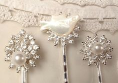 Vintage Wedding White Ivory Pearl, Clear Rhinestone, & Mother of Pearl Bridal Hair Pins, OOAK Silver Heirloom Bobby Pins Bird Set of 3