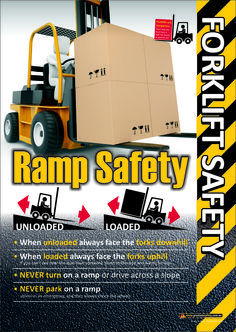 Forklift Safety Poster about working safely on ramps.
