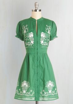 Needlework it Out A-Line Dress in Green - Green, Buttons, Embroidery, Casual, Festival, A-line, Short Sleeves, Summer, Woven, Cotton, Folk Art, WPI, Boho, Mid-length, 60s
