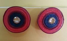Handmade waterproof quilled earrings material : acid free paper with swarovski flat base KM Q28