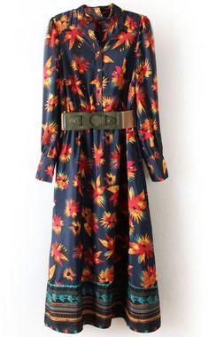 Navy Long Sleeve Floral Buttons Full-Length Dress 32.33