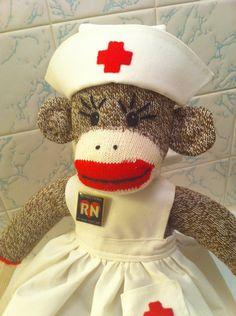 Sock Monkey Nurse Custom Listing for by Sillysockmonkeys on Etsy ... I want one!