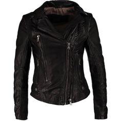 Oakwood Leather jacket ($210) ❤ liked on Polyvore featuring outerwear, jackets, coats, leather jacket, coats & jackets, black, short jacket, collar leather jacket, zipper leather jacket and short black jacket