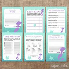 Mermaid Baby Shower Games Package Six Baby Girl by laprintables