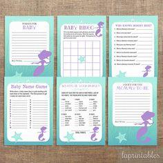 Mermaid Baby Shower Games Package, Six Printable Baby Girl Shower Games, Bundle, INSTANT DOWNLOAD