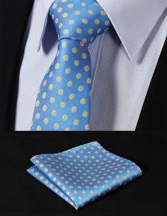 Blue and Yellow Flower Necktie Set