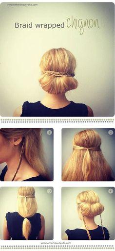 Braid wrapped chignon. Pretty hair style!
