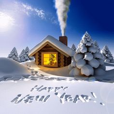 x christmas vinyl photo backdrop, Photography backdrop A- Happy New Year cabins cloth painted backdrops