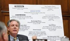 Representative Frank Pallone, Democrat of New Jersey, last month at a House committee hearing with a collection of newspaper headlines about...