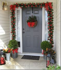 Fabulous farmhouse style Christmas decor for your front porch.  Inspiration by Confessions of a Plate Addict.
