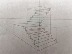 Interior Architecture Drawing, Architecture Concept Drawings, Interior Design Sketches, 2 Point Perspective Drawing, Perspective Art, How To Draw Stairs, House Arch Design, Geometric Art, House Drawing