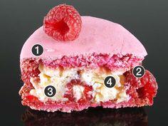 Cet entremet est composé  de : ➊ Coques de macaron roses ➋ Framboises fraîches ➌ Crème parfumée à la rose ➍ Des morceaux de litchi frais. Cette pâtisserie est vendue au PRIX DE 7.50€.