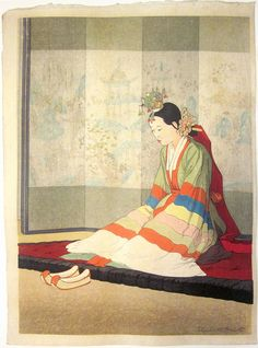 itle:  Korean Bride  Artist:  Elizabeth Keith Date:  1938 Image Size:  dai oban, about 11 x 16 inches Notes:  According to the Miles catalogue on Elizabeth Keith, this print was published in an edition of 100 copies.