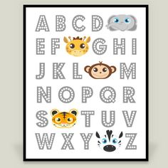 Fun Indie Art from BoomBoomPrints.com! https://www.boomboomprints.com/Product/jannasalak/Jungle_Animal_Alphabet/Art_Prints/8x10_Print/