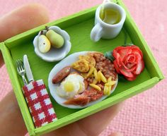 Super tiny food made from clay Tiny Food, Fake Food, Food Sculpture, Breakfast Tray, Romantic Breakfast, Food Artists, Doll Food, Good Enough To Eat, Miniature Food