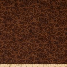 "108"" Wide Quilt Back Swirly Scroll Brown from @fabricdotcom  Licensed to Wilmington Prints, this 108"" wide quilt backing is perfect for adding just the right finishing touch to your quilts as well as duvets, pillows, dust ruffles, curtains, draperies and more! Colors include shades of brown."
