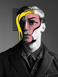 Lichtenstein Style Overlay on B & W Photo of a Man. Pop Art, Collage Art, b & w photo.