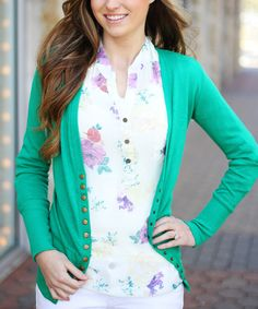 Look what I found on #zulily! So Perla Kelly Green Snap Cardigan by So Perla #zulilyfinds