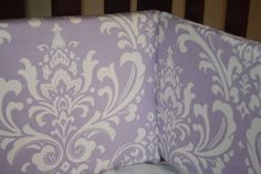 Lilac Damask Bumper by DesignsbyChristyS on Etsy, $100.00