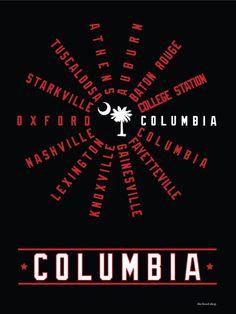 Columbia South Carolina SEC Conference Hood Print $20