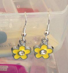 Yellow flower earrings stoned flower charm by BrowniesCRAFTBOX