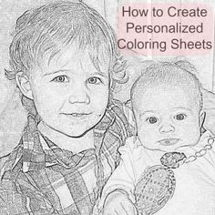FREE Personalized coloring sheets from family photos. Such a neat idea! this tutorial shows you how to do it EASY!