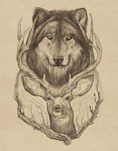 Wolf and Deer...my spirit animals